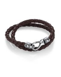 Tod's | Brown Leather Double Wrap Bracelet | Lyst