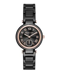Michael Kors - Pink Skylar Mini Rose Goldtone Stainless Steel & Ceramic Bracelet Watch - Lyst