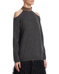 Brunello Cucinelli - Multicolor Cashmere Cold Shoulder Sweater - Lyst
