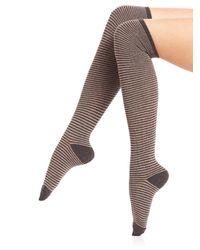 Ilux - Gray Nobo Skinny Stripe Knee-high Socks - Lyst