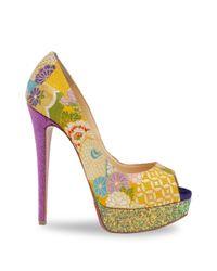 Christian Louboutin - Multicolor Classique Lady Peep 150 Floral & Glitter Platform Peep Toe Pumps - Lyst