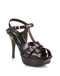 Saint Laurent - Purple Tribute Patent Leather Platform Sandals - Lyst