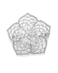 Adriana Orsini - Metallic Magnolia Crystal Brooch - Lyst
