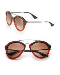 Prada | 54mm Mirrored Aviator Sunglasses | Lyst