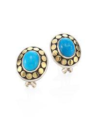 John Hardy - Metallic Dot Turquoise & 18k Yellow Gold Stud Earrings - Lyst