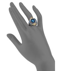 Konstantino - London Blue Topaz 18k Yellow Gold Sterling Silver Ring - Lyst