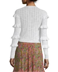 Rebecca Taylor - Multicolor Skinny Rib-knit Cardigan - Lyst
