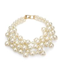 Kenneth Jay Lane - White Faux Pearl Multi-strand Necklace - Lyst