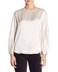 Vince - White Pleated-cuff Silk Blouse - Lyst