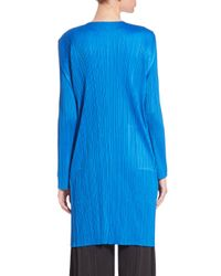 Pleats Please Issey Miyake - Blue Long Open-front Cardigan - Lyst