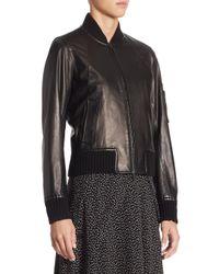 Vince - Black Leather Bomber Jacket - Lyst