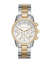 Michael Kors - Metallic Ritz Two-tone Stainless Steel Chronograph Bracelet Watch - Lyst