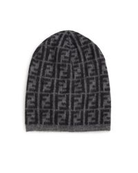 Fendi - Black Wool-blend Logo Beanie for Men - Lyst