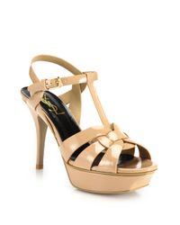 Saint Laurent - Natural Tribute Patent Leather Platform Sandals - Lyst