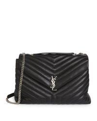 Saint Laurent - Black Large Lou Lou Leather Chain Shoulder Bag - Lyst