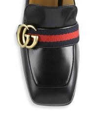 Gucci - Black Peyton Pearl-heel Leather Loafers - Lyst