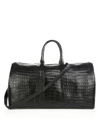 Santiago Gonzalez - Black Crocodile Weekender Bag for Men - Lyst