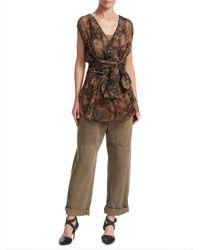 Brunello Cucinelli - Brown Printed-silk Wrap Top - Lyst
