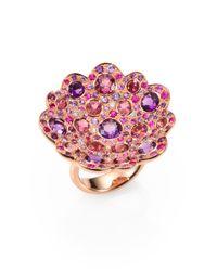 Roberto Coin | Pink Fantasia Semi-precious Multi-stone, Diamond & 18k Rose Gold Flower Ring | Lyst