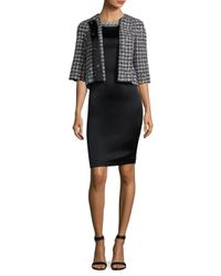 St. John - Black 3/4-sleeve Soft Plaid Jacket - Lyst