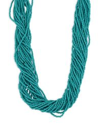 Kenneth Jay Lane - Blue Multi-strand Seed Bead Necklace - Lyst