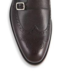 Ferragamo - Black Textured Wingtip Leather Monk Oxfords for Men - Lyst