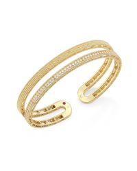 Roberto Coin | Metallic Double Symphony Diamond & 18k Yellow Gold Bangle | Lyst