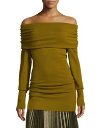 Lafayette 148 New York - Green Convertible Off-the-shoulder Sweater - Lyst