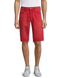 True Religion - Red Geno Straight Leg Jean Shorts for Men - Lyst