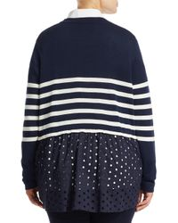 Marina Rinaldi - Blue Wool Striped Cardigan - Lyst