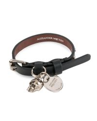 Alexander McQueen - Black Single Wrap Bracelet - Lyst