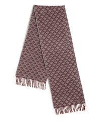 Bally - Purple Printed Fringe Trim Wool Scarf for Men - Lyst