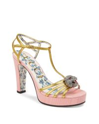 Gucci - Multicolor Leather T-strap Crystal Feline Head Sandals - Lyst