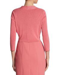 BOSS - Pink Fern Knit Cropped Cardigan - Lyst