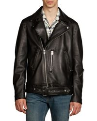 Acne Black Nate Clean Lamb Leather Moto Jacket for men