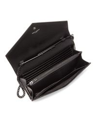 Saint Laurent Black Medium Monogram Matelassé Leather Wallet-on-chain