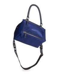 Givenchy - Blue Small Nylon Pandora Bag With Logo Strap - Lyst