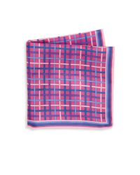 Saks Fifth Avenue - Purple Silk Plaid Pocket Square for Men - Lyst