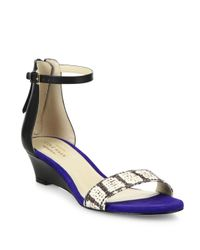 Cole Haan - Blue Adderly Snake-print Leather Ankle-strap Wedge Sandals - Lyst