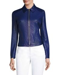 Versace - Blue Perforated Leather Jacket - Lyst