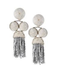 Rebecca de Ravenel - Metallic Cha Cha Short Tassel Earrings - Lyst