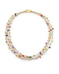 Marco Bicego - Metallic Paradise Semi-precious Multi-stone & 18k Yellow Gold Three-row Necklace - Lyst