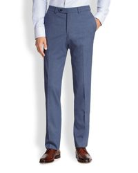 Saks Fifth Avenue Blue Stretch-wool Trousers for men