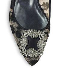 Manolo Blahnik - Black Hangisi Jeweled Lace Ballet Flats - Lyst