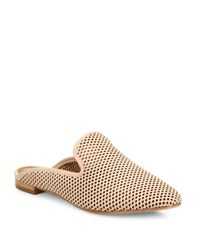 Frye - White Gwen Perforated Leather Flat Mules - Lyst