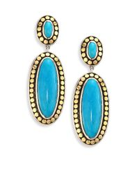 John Hardy - Blue Dot Turquoise & 18k Yellow Gold Oval Drop Earrings - Lyst