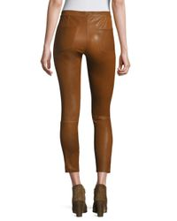 Joie - Brown Darnella Leather Cropped Leggings - Lyst