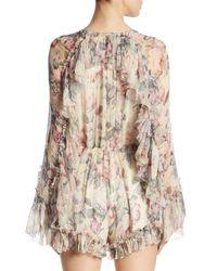 Zimmermann - Multicolor Mercer Floating Floral Silk Romper - Lyst