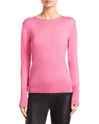 Saks Fifth Avenue | Pink Collection Basic Crewneck Sweater | Lyst
