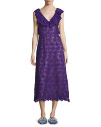 Miu Miu - Purple Macrame Lace Ruffle Dress - Lyst